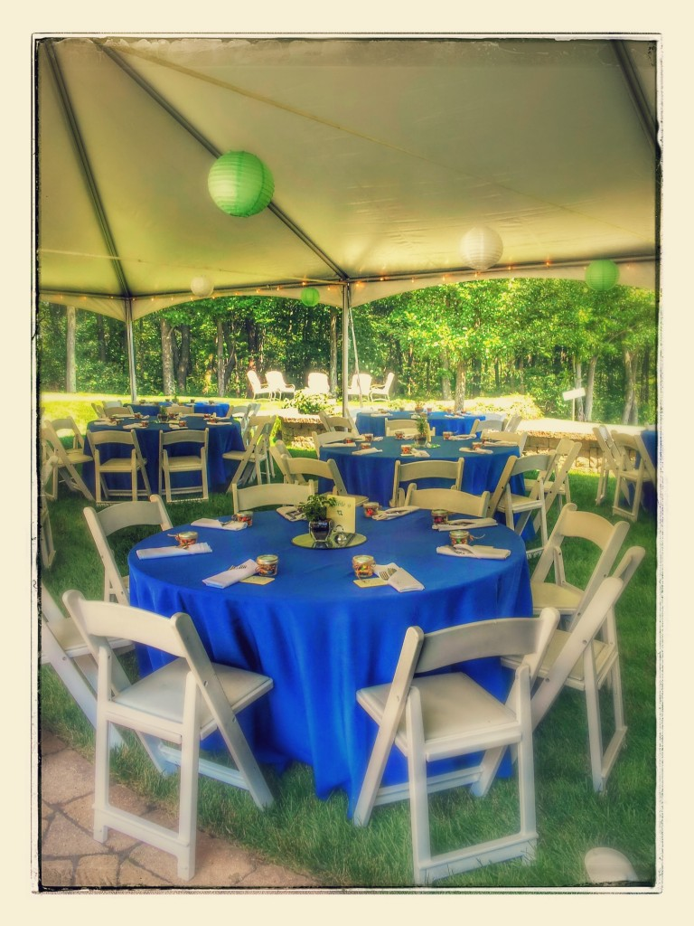 Blue tablecloths, White chairs and napkins. Mint and White paper lanterns!