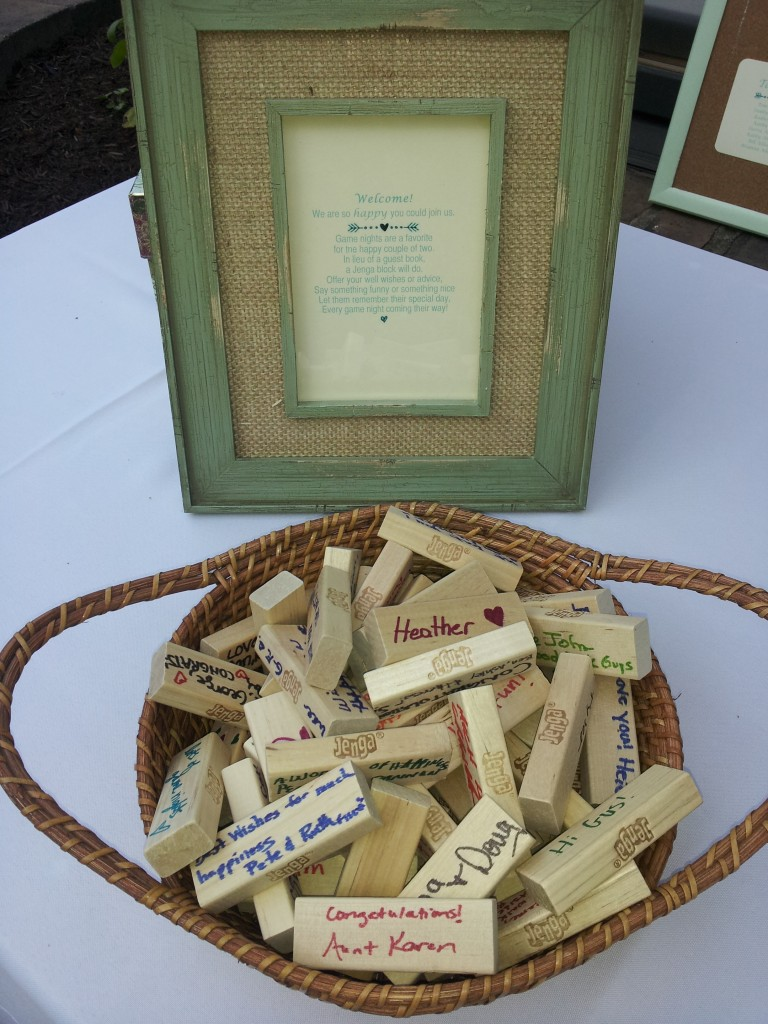 Cool Idea! Jenga blocks were how the guests sign in!
